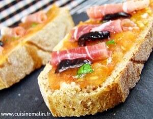 #PainTomate, #Pain, #Tomate, #CuisineMalin, #Iberique, #Jambon, #EntreeFraicheur, #PainHuileTomateJambon